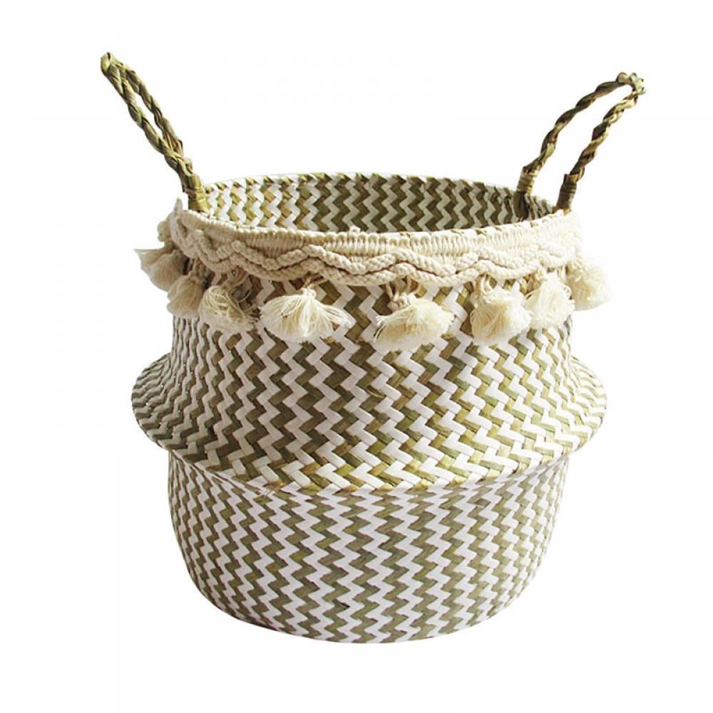 Grass Woven Rattan Wicker Basket Garden Flower Pot Holder White L