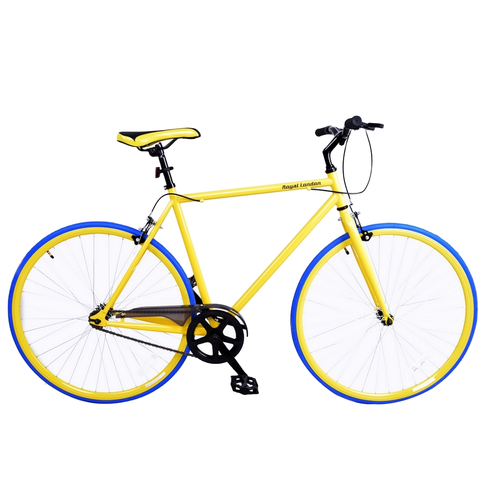 Royal London Fixie Fixed Gear Single Speed Bike - Yellow/Blue