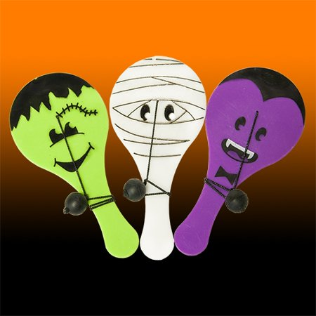 Halloween Monster Paddle Ball Game - 12 per - Gross Halloween Food Games