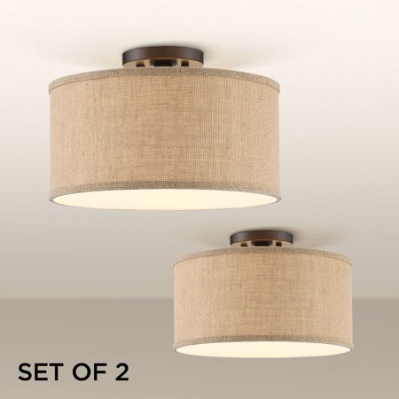 360 Lighting Adams Burlap Drum Shade Ceiling Lights Set of 2 ()