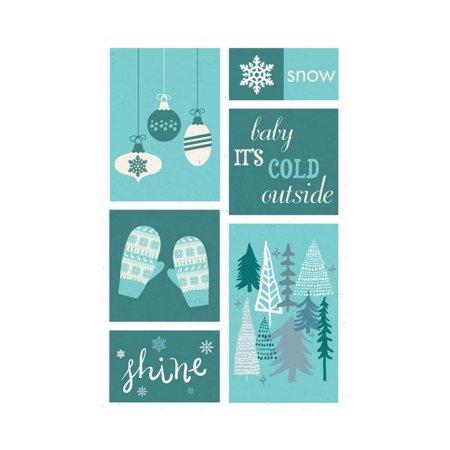 christmas blue snow checkerboard print wall art by lantern press