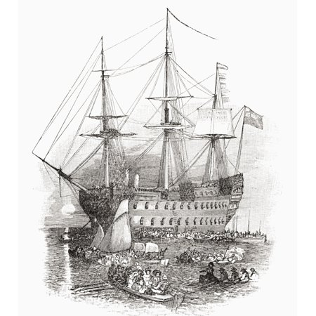 The Hms Bellerophon The Ship Which Carried Napoleon To St Helena In 1815 From The Book Short History Of The English People By Jr Green Published London 1893 Canvas Art   Ken Welsh  Design Pics  13 X 1
