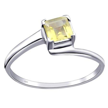 Essence Jewelry 925 Sterling Silver 0.6 Carat Lemon Quartz Square Cut Prong Setting Ring Size -6 Cut 925 Silver Ring Setting