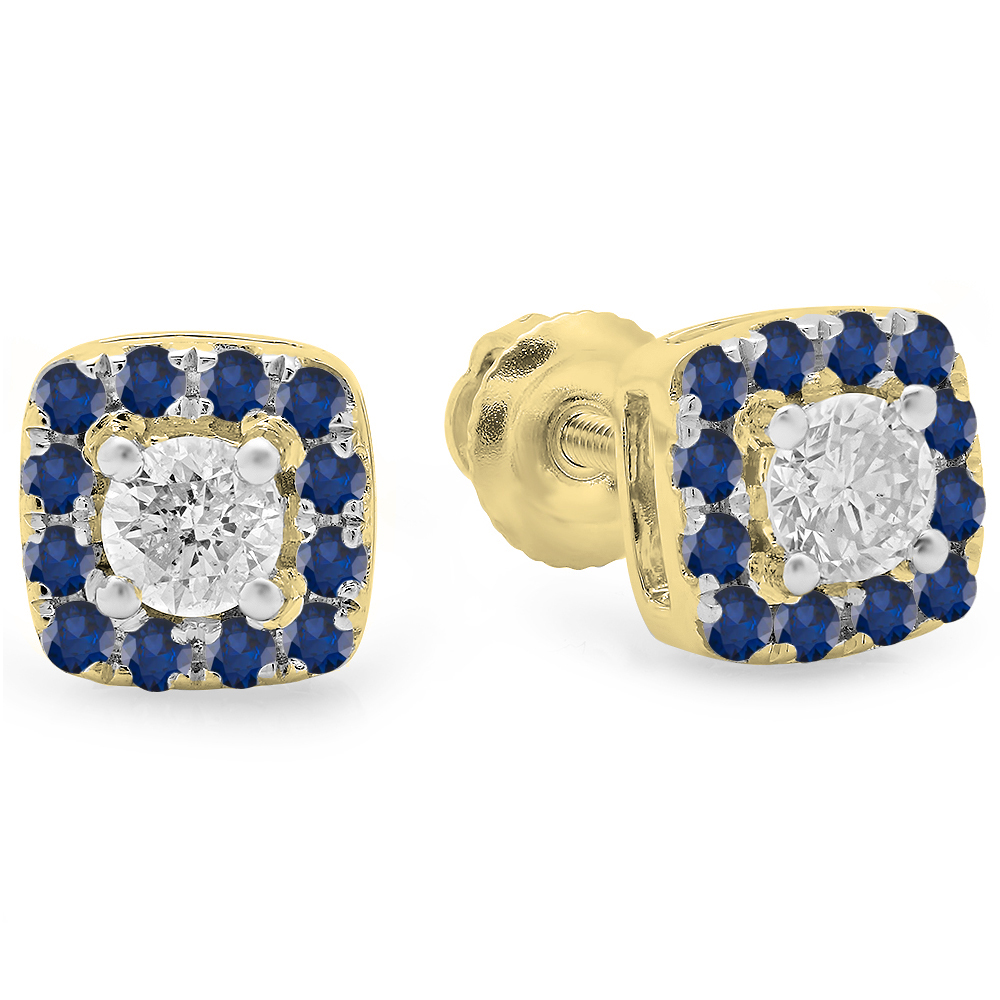 0.50 Carat (ctw) 14K Yellow Gold Round Cut Blue Sapphire & White Diamond Ladies Square Frame Halo Stud Earrings 1/2 CT