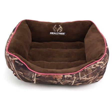 Realtree Box Pet Bed - 25u0022x21u0022 - Camo/Pink