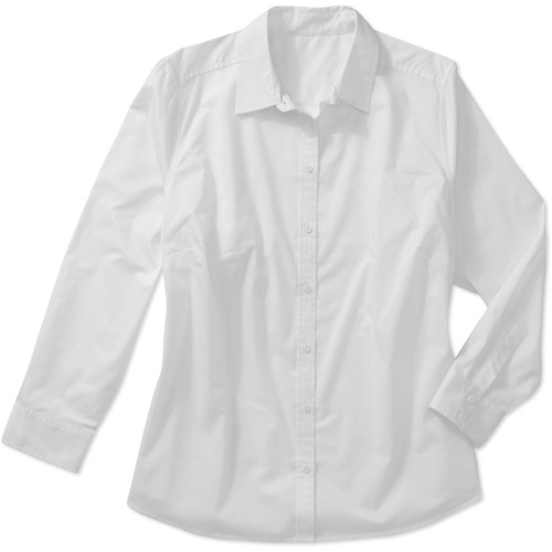 George Women's Plus-Size Career Long-Sleeve Button-Front Shirt