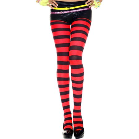 Music Legs 7419-BLK-PINK Wide Striped Tights - Black & Pink - image 1 of 1