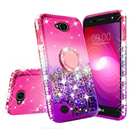 outlet store 8dc24 cacce LG X Power 2 Case LG Fiesta,LG K10 Power,LG X Charge,LG Fiesta 2 Liquid  Glitter Cute Phone Case Kickstand Bling Diamond Bumper Ring Stand Clear  Girls ...