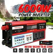 2000W 6000W Peak DC 12V/24V to AC 220V Power Inverter Converter W/ 4 Outlets for Home Car Outdoor Use
