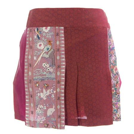 CUSTO BARCELONA Women's Cupine Stork Maroon Mini Skirt 493636](Maroon Skirt)