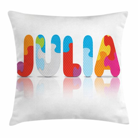Julia Throw Pillow Cushion Cover, Puzzle Style Colorful Letters Preschool Theme Girl Name with Roman Mythology Roots, Decorative Square Accent Pillow Case, 16 X 16 Inches, Multicolor, by Ambesonne