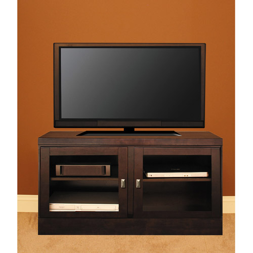 "48"" Console with Contemporary Handles & Tempered Clear Glass Doors, Mocha"