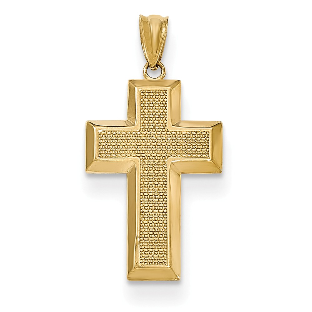 14k Yellow Gold Polished & Textured Cross Pendant