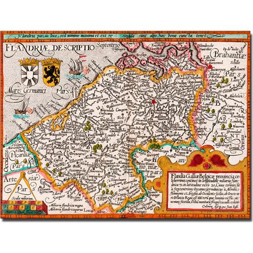 Trademark Art 'Map of Flanders' Canvas Art by Johannes Bussemacher