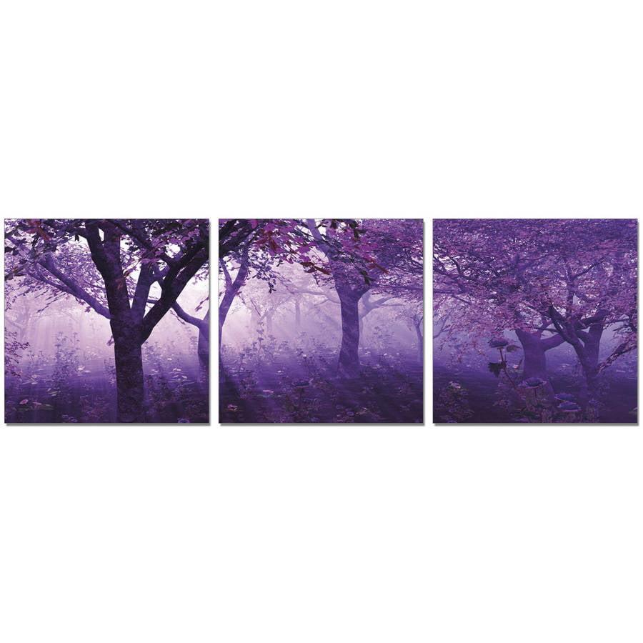 "Furinno SeniA Purple Trees 3-Panel MDF Framed Photography Triptych Print, 48"" x 16"""