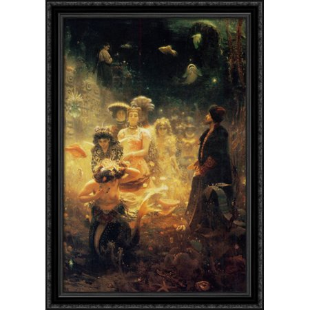 Ss Black Wood - Sadko 28x40 Large Black Ornate Wood Framed Canvas Art by Ilya Repin