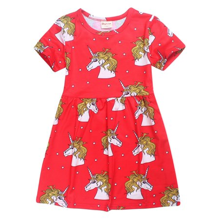 2Bunnies Girl's Unicorn Rainbow Dress, Animal Horse Pattern Printed Party Fairy Dress, Red, 3T