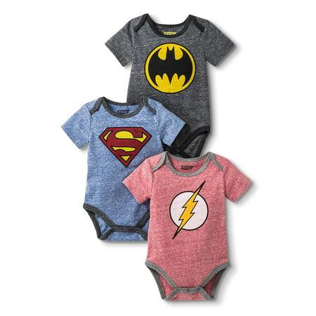 Flash, Batman and Superman Bodysuit Set, 3 pc set (Baby Boys) - Superman Outfit