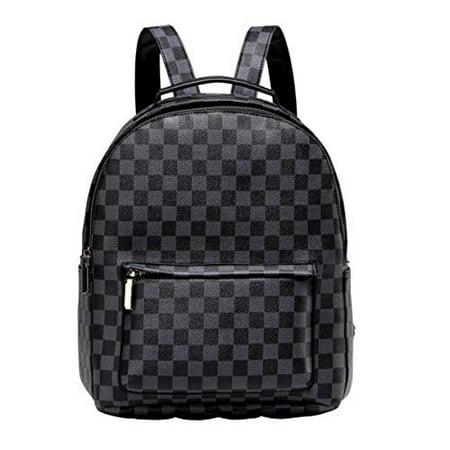 Daisy Rose Checkered Backpack bag - Luxury PU Vegan Leather (Black)