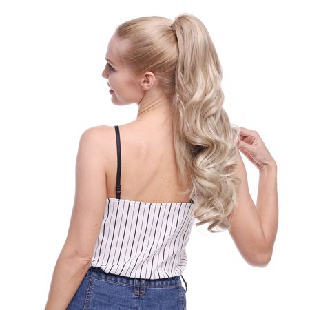 S-noilite Long Short Claw Ponytail Hair Extension One Piece Cute Clip in on Ponytail Jaw/Claw Synthetic Straight Curly dark blonde mix bleach blonde,24