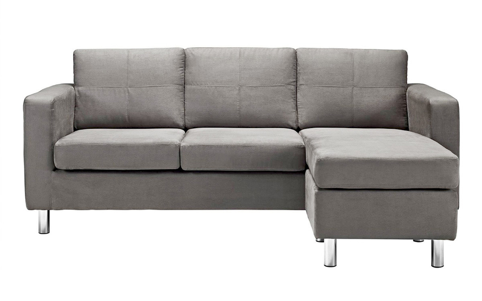 Modern Reversible Small E Configurable Microfiber Sectional Sofa