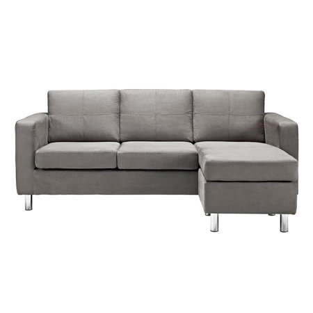 Modern Reversible Small Space Configurable Microfiber Sectional Sofa