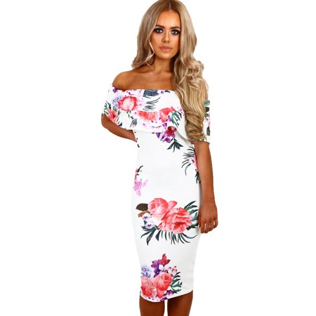 Cali Chic Juniors' Dress Celebrity White Multi Floral Bardot Midi Boho Dress