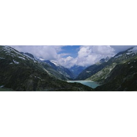 High angle view of a lake surrounded by mountains Grimsel Pass Switzerland Poster Print