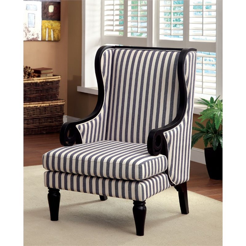 Bowery Hill Wingback Accent Chair In Dark Blue