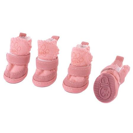 Pet Paw Print (2 Pairs Pink Running Paw Printed Hook Loop Fastener Pet Dog Shoes Booties)
