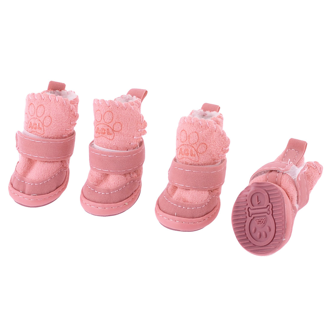 2 Pairs Pink Running Paw Printed Hook Loop Fastener Pet Dog Shoes Booties XXS