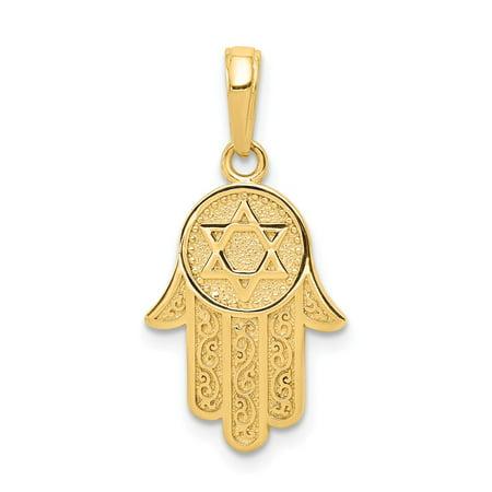 14k Yellow Gold Jewish Hand Of God Hamsa Pendant Star Of David Symbol 25x12mm