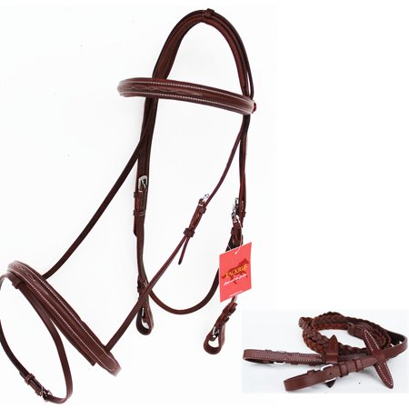 (Horse English Padded Leather Raised Adjustable Flash Bridle Reins Full 803439F)