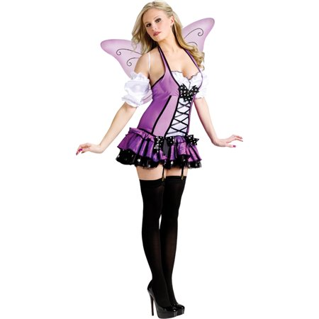 Morris Costumes Lilac Fairy Adult Ruffle dress corset-styled bodice with polka dot accents Md 10-12, Style FW122184MD ()