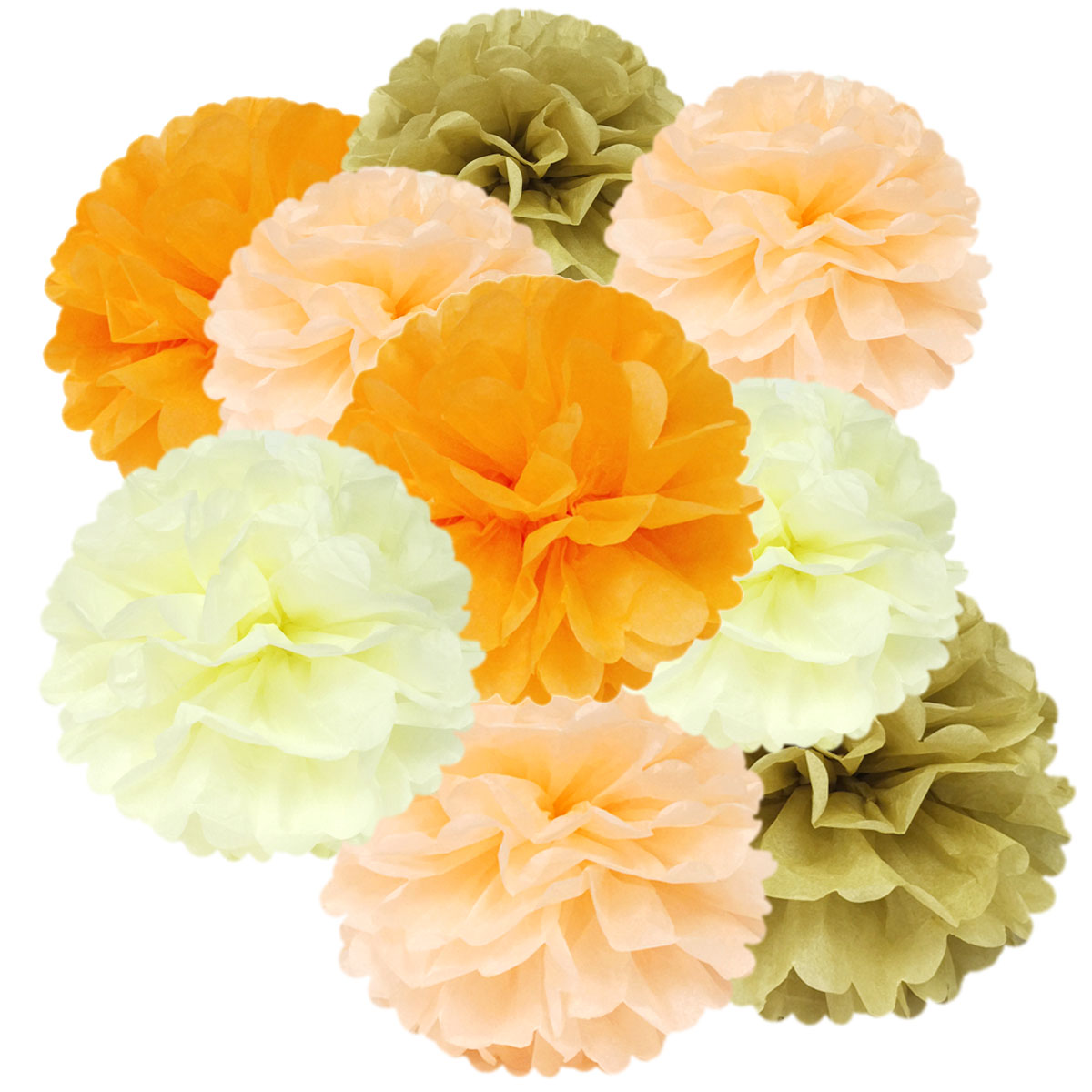 Wrapables® Set of 12 Tissue Pom Pom Party Decorations for Weddings, Birthday Parties Baby Showers and Nursery Decor, Peach/Orange/Tan/Ivory