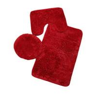 Soft Carpet 3 PCS Rug Toilet Covers Non-Slip Bathroom Mat Sets Home Decor