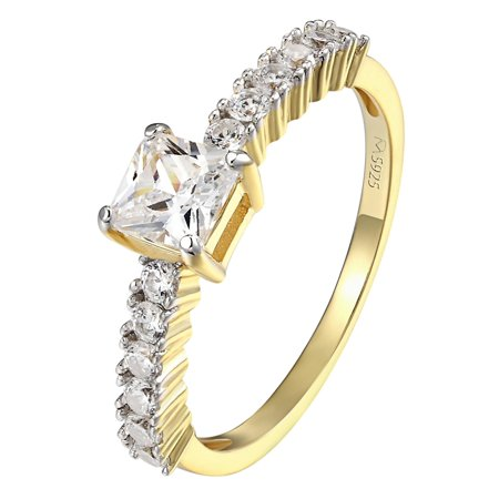 Women's Princess Cut Yellow Gold Tone Sterling Silver Ring Engagement Band Size 6, 7 and 8 (Tiffany Gold Princess Cut Rings)