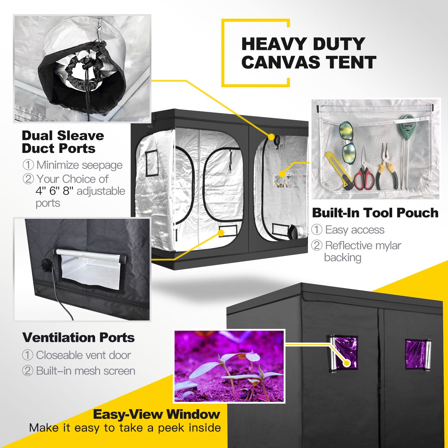 iPower 20 x 36 x 62 Waterproof Grow Tent and 2-Pair 1/8 Inch 8 ...