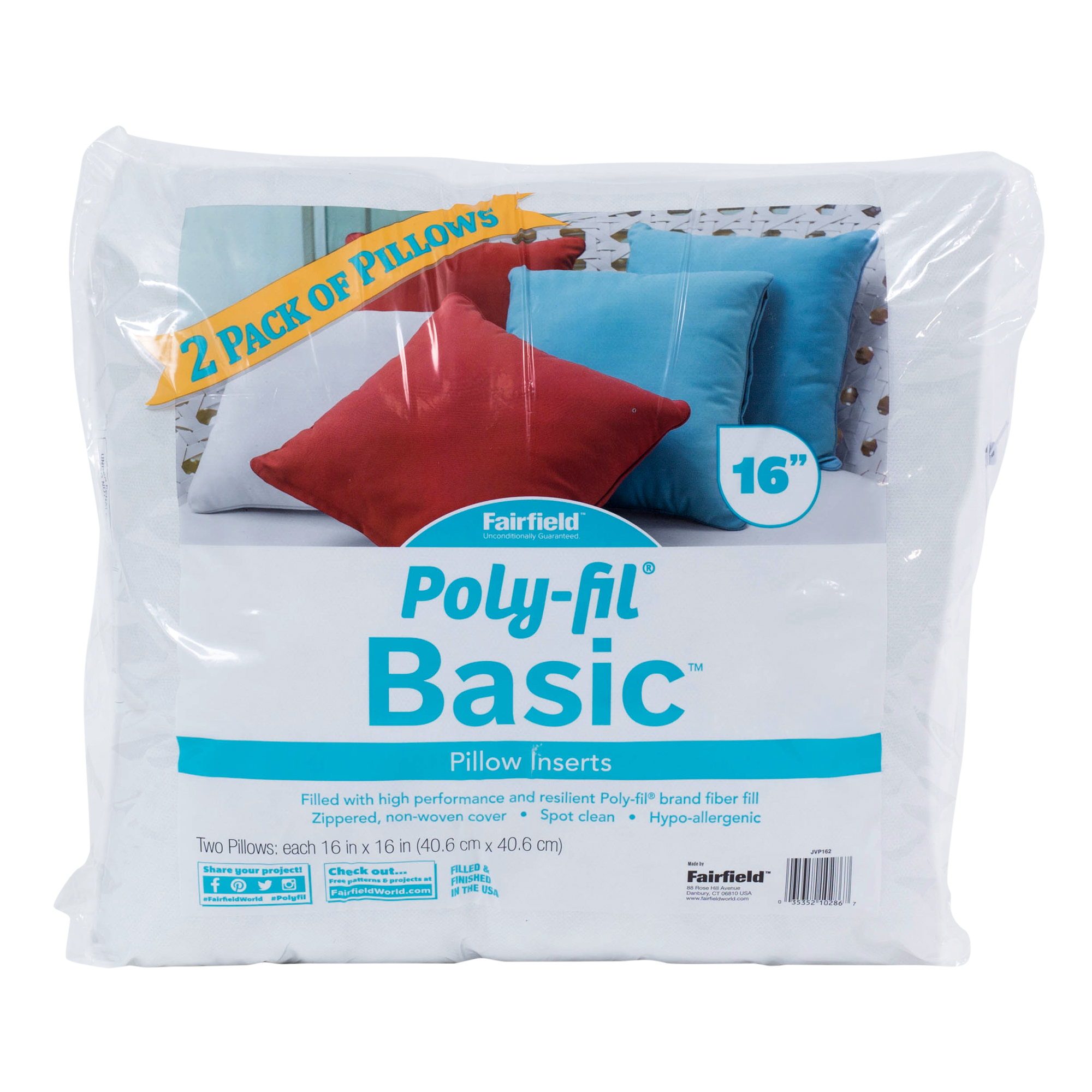 "Poly-Fil® Basic™ 16""x16"" Pillow Insert (Pack of 2)"
