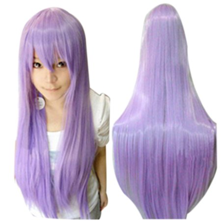 Women Girls 80CM Long Straight Synthetic Fiber Wig with Bangs for Anime Cosplay - Anime Cosplay Ideas