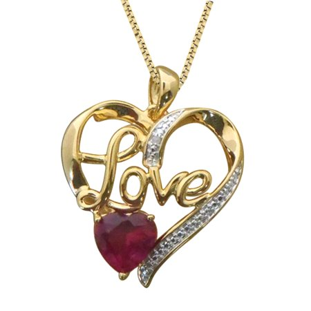 - Beautiful 2.75 Carat Heart Shaped Ruby with Natural Diamond Accent Heart Necklace In 14K Yellow Gold Plated.