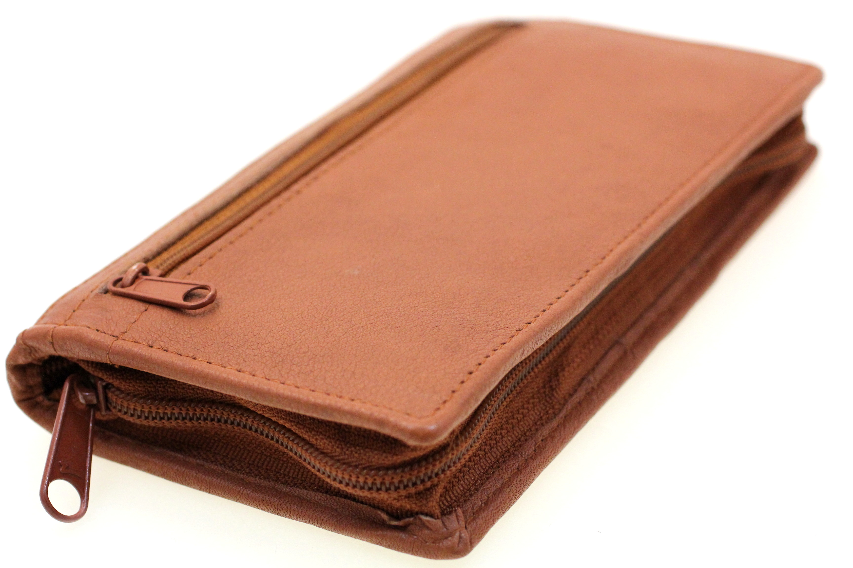 c6e343869898 Leather Checkbook Wallet Removable Checkbook Cover Zip Around Men Women New