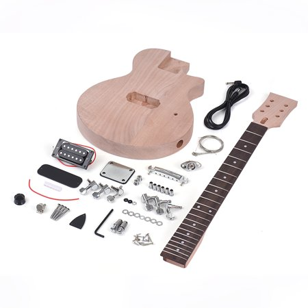 Muslady Children LP Style Unfinished DIY Electric Guitar Kit Mahogany Body & Neck Rosewood Fingerboard Single Dual-coil Pickup - image 2 de 5