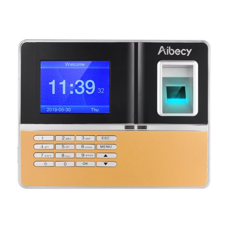 Aibecy Intelligent Biometric Fingerprint Time Attendance Machine with 3.2 Inch TFT Display Screen Time Clock Fingerprint Password Employee Checking-in Recorder Reader Support USB Disk Ethernet Access (Fingerprint Time Recorder)
