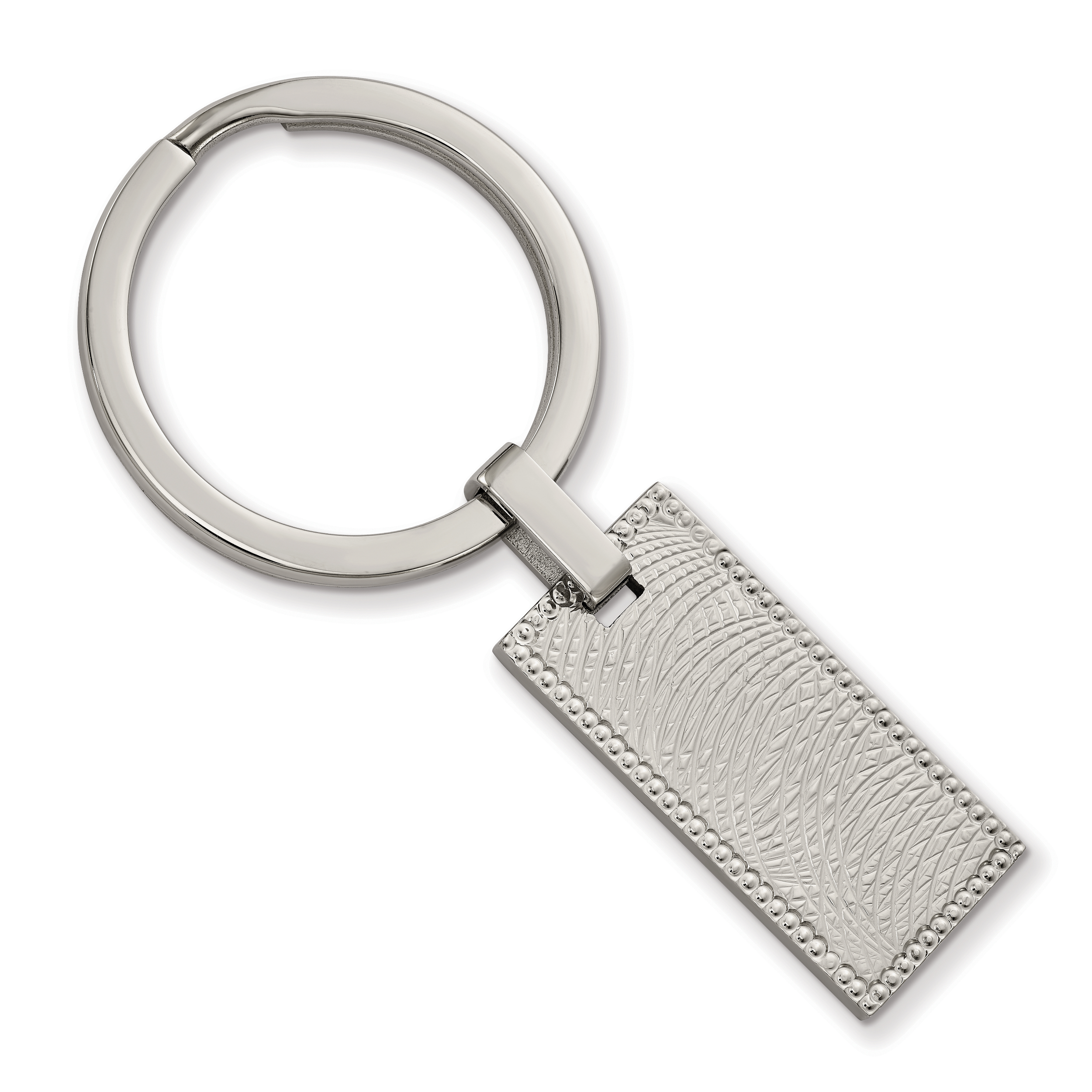 Stainless Steel Polished and Textured Rectangular Key Ring by CoutureJewelers