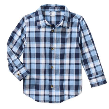 Baby Toddler Boy Long Sleeve Plaid Woven Shirt