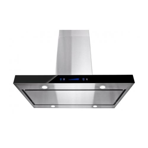"""Image of AKDY 36"""" Island Mount Stainless Steel Black Color Touch Control Low Noise Range Hood"""