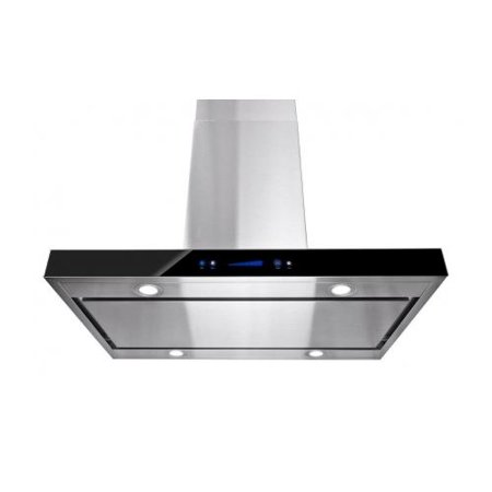 "Image of AKDY 36"" Island Mount Stainless Steel Black Color Touch Control Low Noise Range Hood"