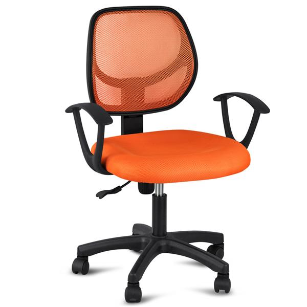Adjustable Swivel Computer Desk Chair Fabric Mesh Office Chair with Arms Seating Back Rest,Orange