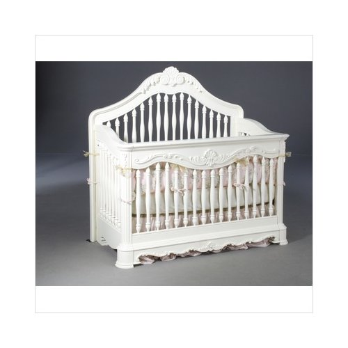 Bundle-10 Creations Baby Venezia Convertible Crib with Guard Rails in Vanilla (Set of 2)